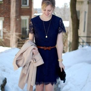 Madewell Navy Blue Floral Lace Lined Shift Dress